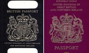 An old British passport alongside the current burgundy format