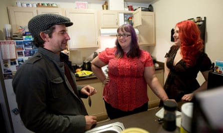Polyamorous threesome, Jeff Lords, Gaile Parker, and Tamela Clover (from left to right), prepare a meal together at home in Portland, Oregon.