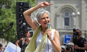 Green Party presidential candidate Jill Stein speaks during a rally of Bernie Sanders supporters outside the Wells Fargo Center on the second day of the Democratic National Convention in Philadelphia, Pennsylvania, July 26, 2016. REUTERS/Dominick Reuter
