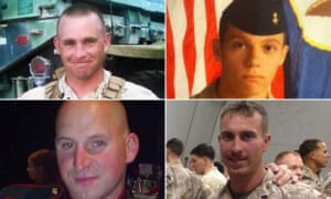 The marines killed in Chattanooga on Thursday. Top, left to right: Thomas Sullivan and Skip Wells. Bottom, left to right: David Wyatt and Carson Holmquist.