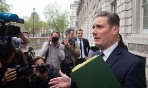 Keir Starmer speaking to reporters outside the Cabinet Office.