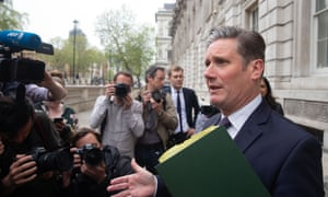 Sir Keir Starmer, the shadow Brexit secretary, speaking to reporters outside the Cabinet Office ahead of cross-party talks this afternoon.