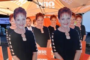 Cardboard cutouts of Pauline Hanson