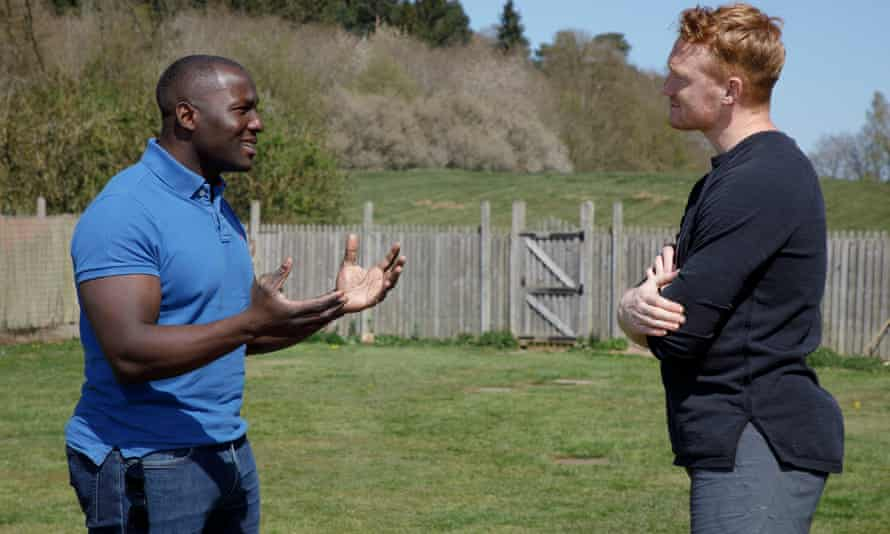 Greg Rutherford (right), a long jump Olympic gold medallist and former world champion, talks to double GB winter Olympian bobsleigh driver Lamin Deen.