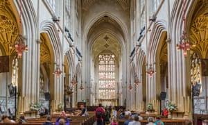 Interior of Bath Abbey, Bath, Somerset, England, UKEXJW9Y Interior of Bath Abbey, Bath, Somerset, England, UK