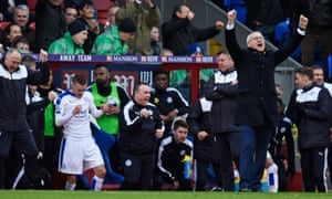 Leicester City manager Claudio Ranieri and Jamie Vardy celebrate after the game.