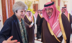 Theresa May, weclomed in Riyadh by Saudi Arabian crown prince Muhammad bin Nayef.