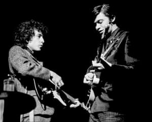 Bob Dylan and Robbie Robertson go electric at the Academy of Music, Philadelphia in 1966. Photograph: Charlie Steiner/Getty Images