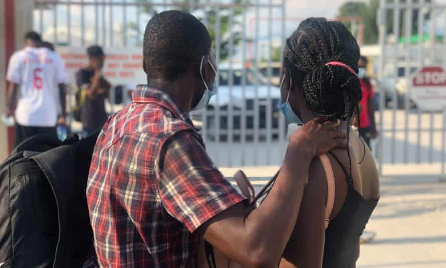 Evens Delva and his wife at Port-au-Prince airport in Haiti on Friday after being deported from Texas