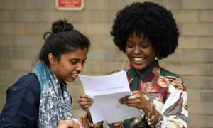 Students receive their A-level results at City and Islington College.