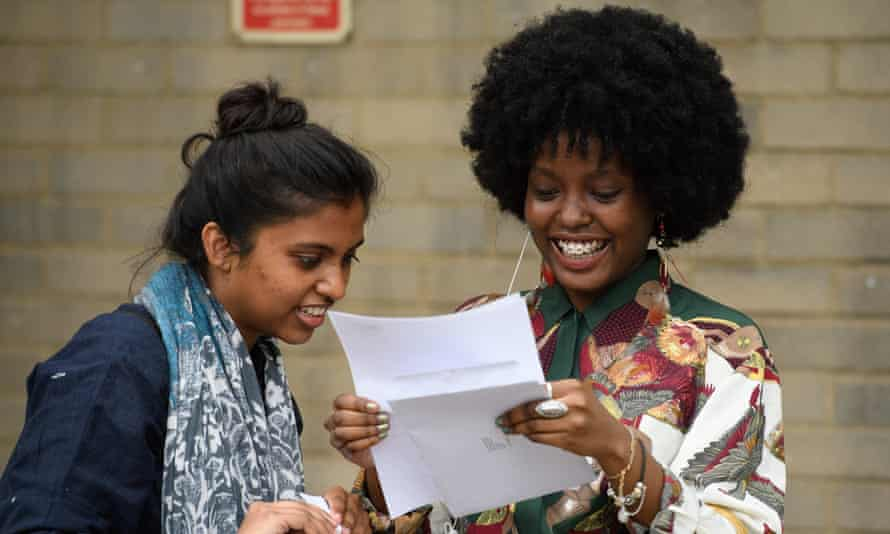 Students receive their A-Level results at City and Islington College in London, 2017