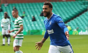 Connor Goldson celebrates scoring the first of his two goals in Rangers' 2-0 win at Celtic