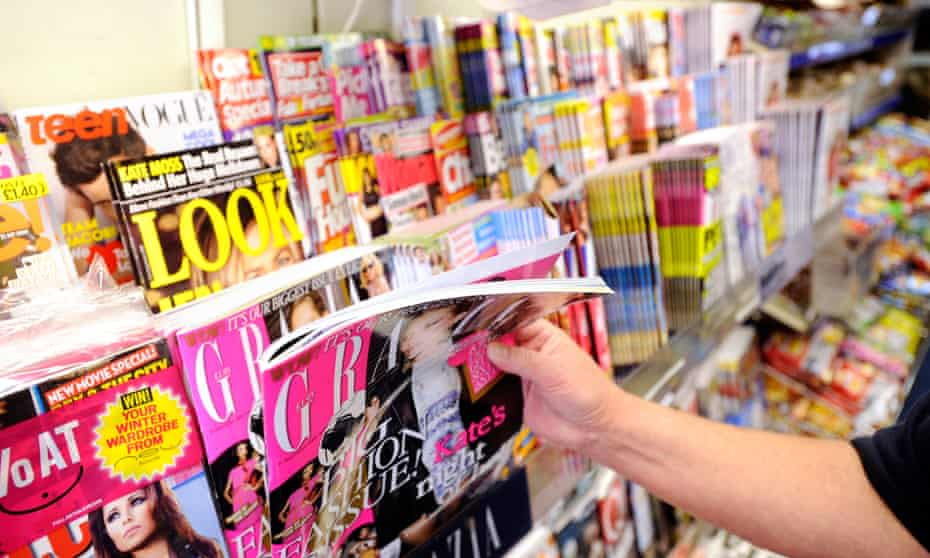 Magazines on display in a newsagent