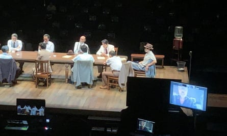 'I miss the masochistic agony of sitting in the auditorium, surrounded by critics' ... Lindsay Posner directs Twelve Angry Men via Zoom at the Bunkamura Theatre Cocoon, Tokyo.