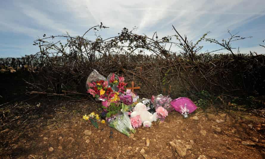 Tributes in 2011 at the scene near Eastleach, Gloucestershire, where Becky Godden's body was found.