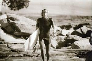 Jim Banks' broken surfboard, 1980s