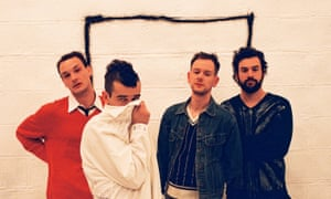 1975 frontman Matty Healy, second from left, and bandmates.