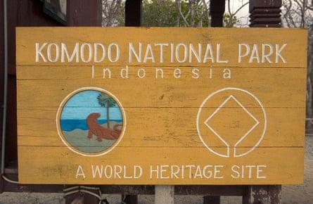 Komodo National Park entrance sign