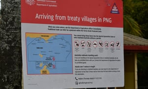 A sign about travel from treaty villages in PNG on Boigu in the Torres Strait.