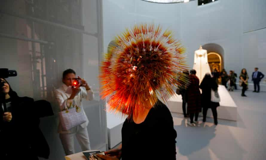 Japanese fashion designer Maiko Takeda wears her Atmospheric Reentry head at the Costume Institute's spring 2016 exhibition at the Metropolitan Museum in New York.