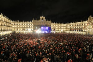 Salamanca, Spain Thousands of young people gather in Plaza Mayor