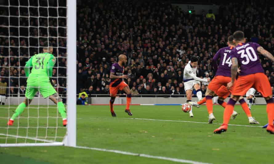 Son Heung-min of Tottenham scores the only goal in their Champions League quarter-final first leg against Manchester City.