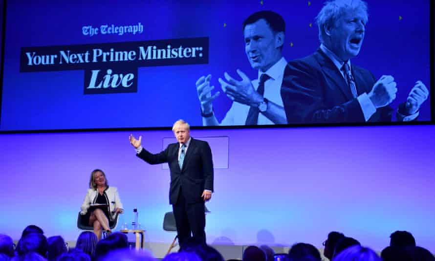 Conservative leadership candidates Boris Johnson and Jeremy Hunt attend a Telegraph event