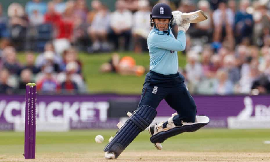 Tammy Beaumont strikes the ball on the way to her eighth ODI hundred in England's comprehensive win against New Zealand.