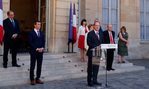 French prime minister Jean Castex delivers a speech after signing the healthcare wage agreements.