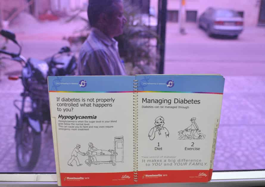 A booklet with information on diabetes at a private clinic in Delhi. The disease is on the rise in India.