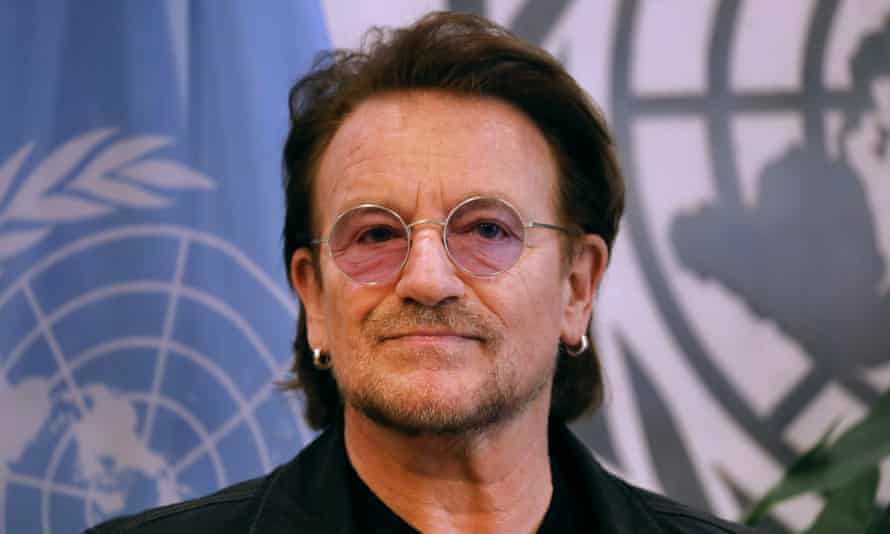 Message to people on the frontline … Bono, pictured at the UN in February.