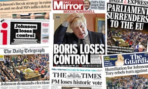 Front pages of the UK papers on Wed 4 September