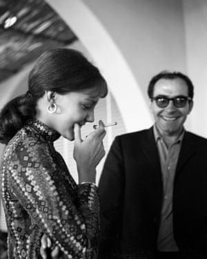 Jean Luc Godard with Anne Wiazemsky in Venice, 1967.