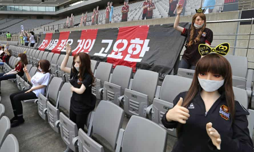 Sex dolls in the stands of Seoul World Cup Stadium as FC Seoul and Gwangju FC play a football match