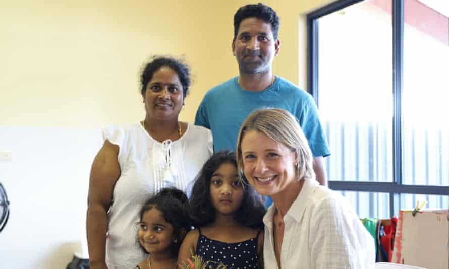 Senator Kristina Keneally with Priya, Nades, Kopica and Tharunicaa in the visitors room at the Christmas Island detention centre.