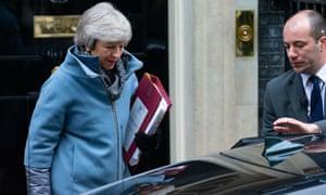 Theresa May outside Downing Street.