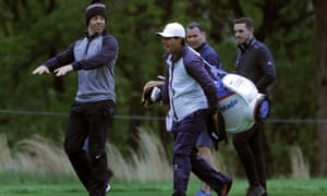 Rory McIlroy (left) in practice for the US PGA Championship at Bethpage Black in New York.