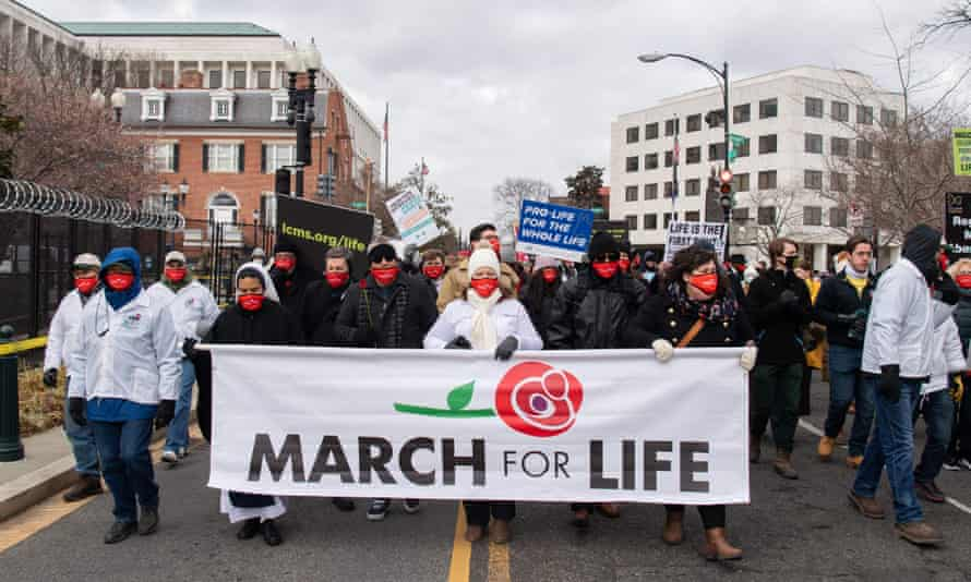 "Anti-abortion activists at the ""March for Life"" on 29 January 2021 in Washington DC."