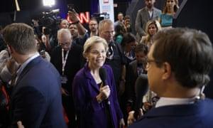 Elizabeth Warren at a Democratic presidential primary debate in Ohio.