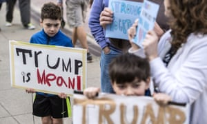 Children at a protest outside the US Federal Courthouse in Spokane, Washington.
