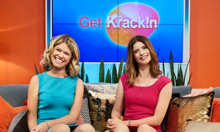 Kate McLennan and Kate McCartney on the set of their show Get Krack!n, which satirises morning TV.