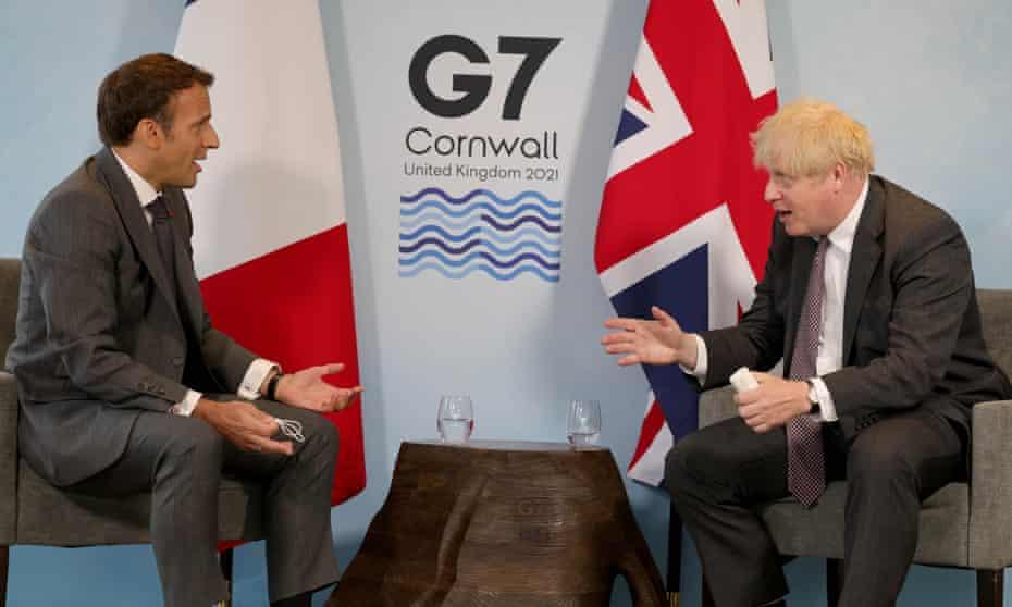 Emmanuel Macron (left) with Boris Johnson at the G7 Summit in Cornwall