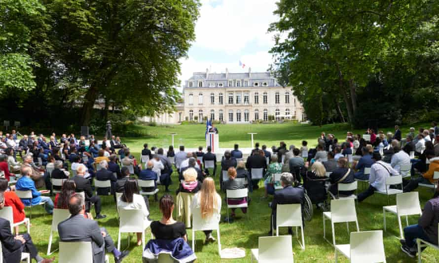 President Macron addresses the citizens convention on climate at the Elysee palace on 29 June 2020