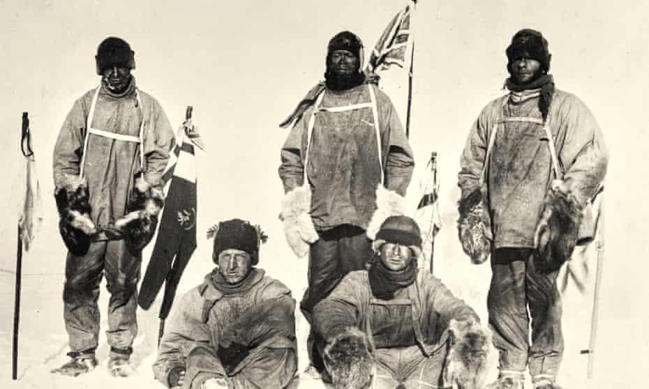 From left: Lawrence Oates, Henry Bowers, Captain Scott, Edward Wilson and Edgar Evans.