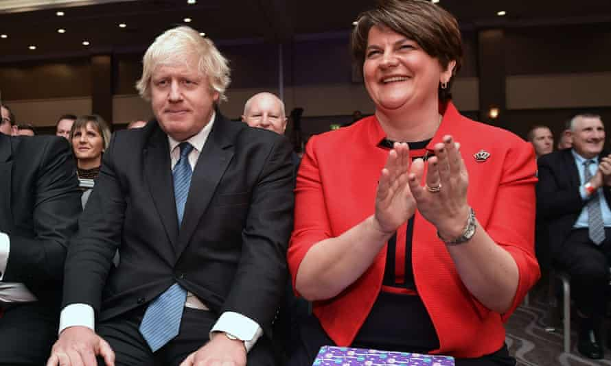 Boris Johnson with Arlene Foster at the DUP conference in 2018