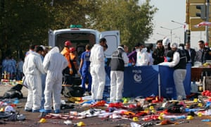 The aftermath of two nearly simultaneous explosions at a peace rally in Ankara on Saturday.