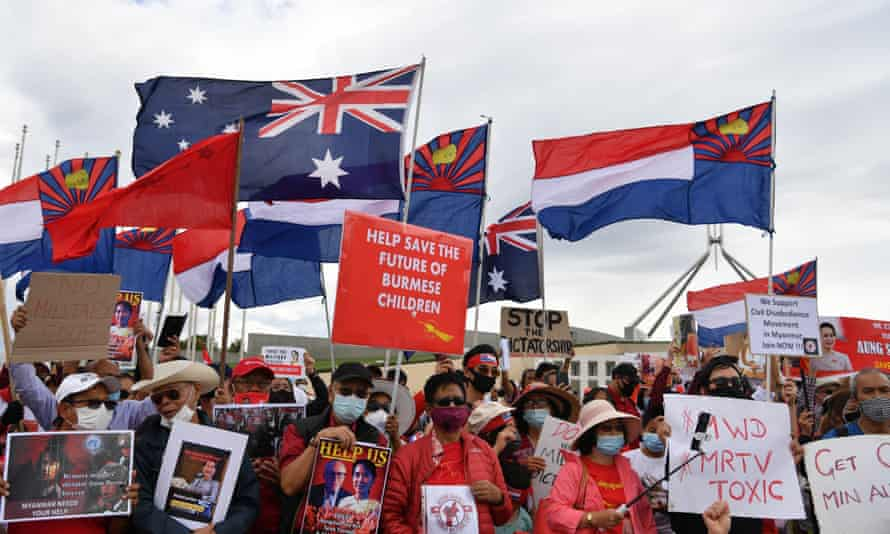 Protesters in Australia's capital, Canberra, rally against Myanmar's violent military coup