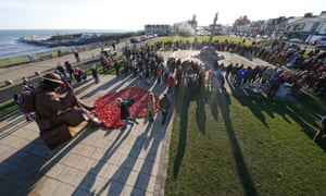Seaham, County Durham Two minutes' silence is observed at the Tommy statue