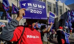 Donald Trump supporters rally in Philadelphia, Pennsylvania, 5 November 2020.