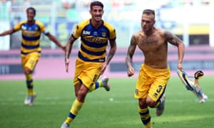 Federico Dimarco (right) celebrates wildly after hitting the winner against his parent club.